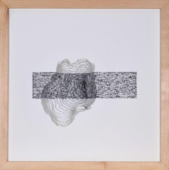 "Scott Hazard, ""Read This"", 15""x15""x8"", ash wood, paper, text"