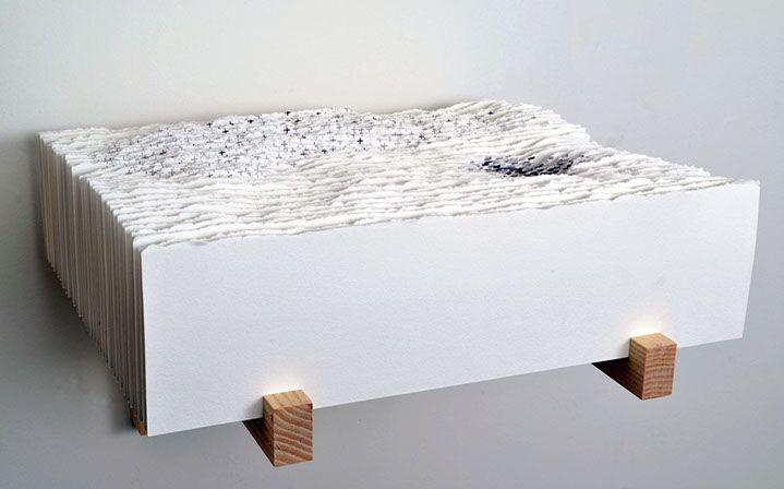 """Scott Hazard, """"Plus or Minus"""", 10""""x11""""x10"""", ash wood, paper, text"""