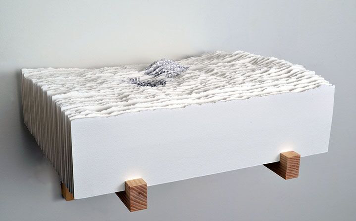 """Scott Hazard, """"Dig it Dug"""", 10""""x11""""x10"""", ash wood, paper, text"""