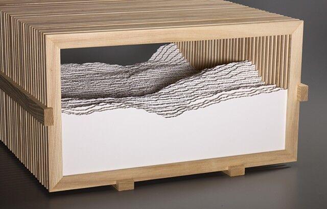 """Scott Hazard, """"Field"""", 11""""x19""""x24"""", ash wood, paper, text"""