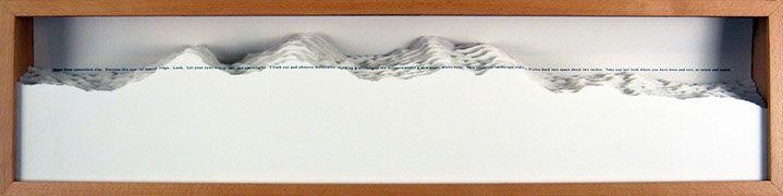 "Scott Hazard, ""Landscape Meditation"", 10""x40""x4"", red oak, paper, text"