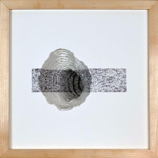 "Scott Hazard, ""Hold this Line"", 13""x13""8"", maple wood, paper, text"