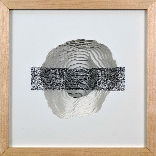 "Scott Hazard, ""Je Ne Sais Pas"", 13""x13""x7"", maple wood, paper, text"