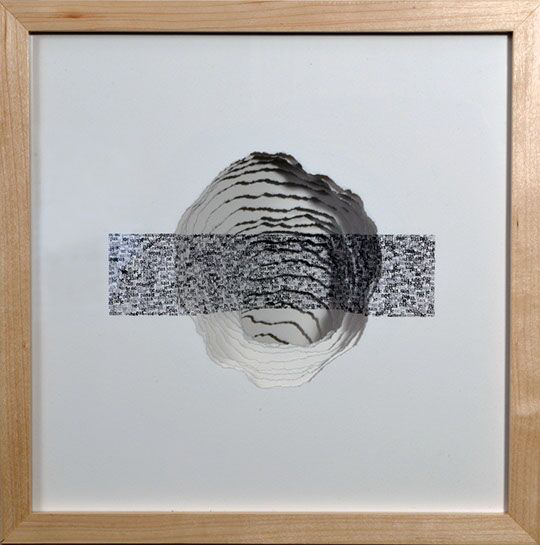 "Scott Hazard, ""What do you know..."", 13""x13""x7"", maple wood, paper, text"