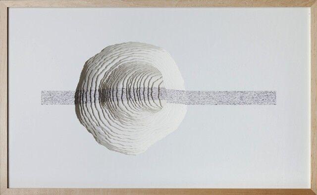 "Scott Hazard, ""Read This Line"", 28""x43""x15"", wood, paper, text"