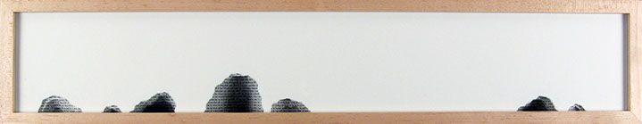 "Scott Hazard, ""Hey You"", 8""x43""x4"", maple wood, paper, text"
