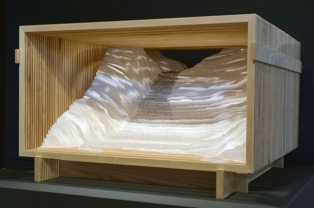 """Scott Hazard, """"Rise"""", 28""""x53""""x55"""", ash wood, paper, text"""
