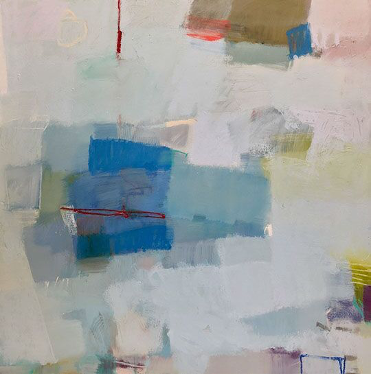 "Sharon Paster, ""Homecoming"", 48""x48"", mixed media on canvas"