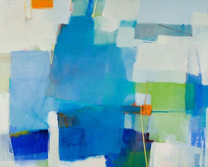 "Sharon Paster, ""New Blue"", 48""x60"", mixed media on canvas"