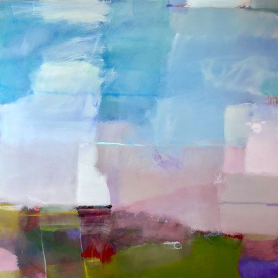 "Sharon Paster, ""Weather"", 60""x60"", mixed media on canvas"
