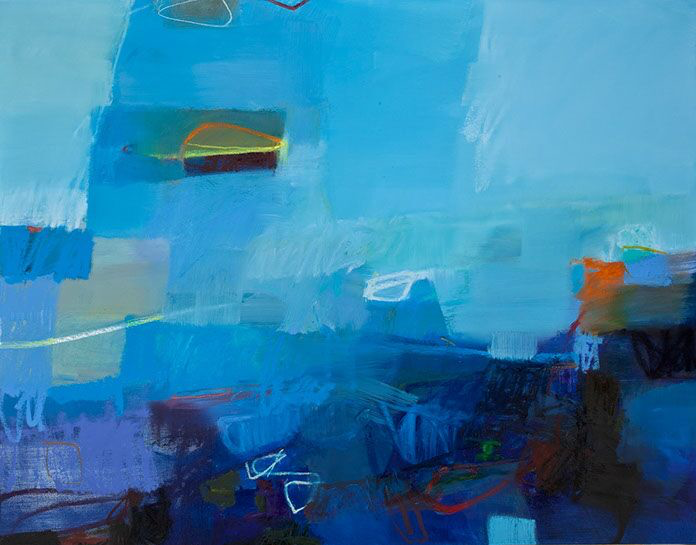 "Sharon Paster, ""Over and Under"", 48""x60"", mixed media on canvas"