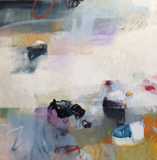"Sharon Paster, ""Catching Rays"", 60""x60"", mixed media on canvas"