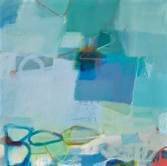 "Sharon Paster, ""Shoreline"", 36""x36"", mixed media on canvas"