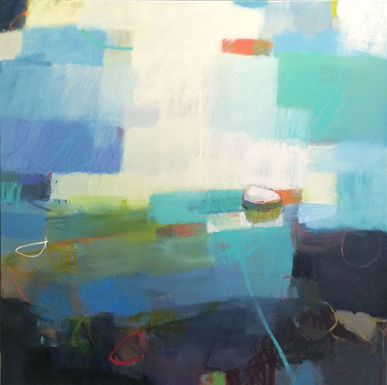 "Sharon Paster, ""Here We Are"", 60""x60"", mixed media on canvas"