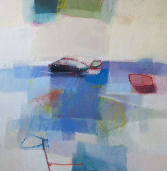 "Sharon Paster, ""Slipstream"", 60""x60"", mixed media on canvas"