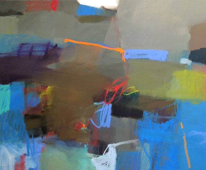 "Sharon Paster, ""Marin Hike"", 48""x60"", mixed media on canvas"