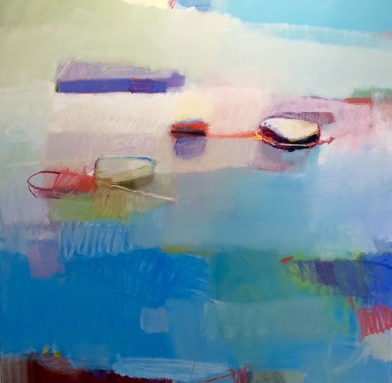 "Sharon Paster, ""Summer"", 60""x60"", mixed media on canvas"