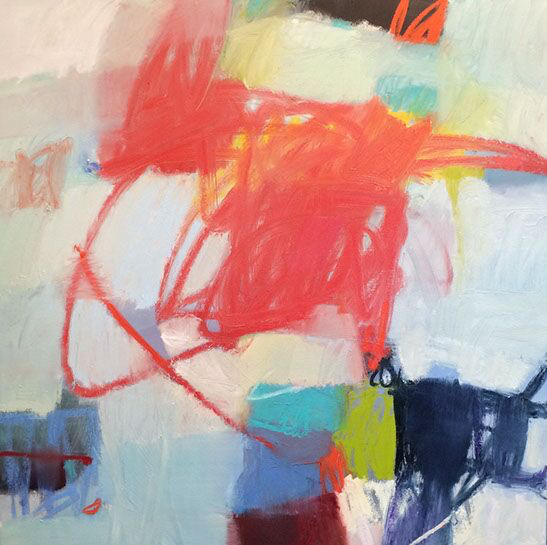 "Sharon Paster, ""Spin"", 48""x48"", mixed media on canvas"