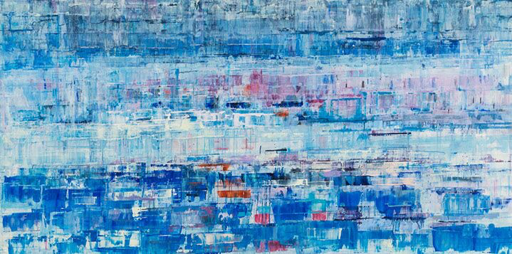 """Suzy Barnard, """"Violets are Blue"""", 36""""x72"""", oil on panel"""