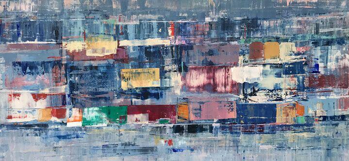 "Suzy Barnard, ""Disconcerning Distance"", 36""x72"", oil on panel"
