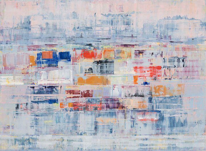 "Suzy Barnard, ""Reciprocity"", 44""x60"", oil on panel"