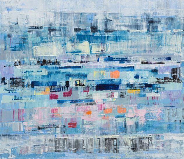 "Suzy Barnard, ""Skittish"", 38""x44"", oil on panel"