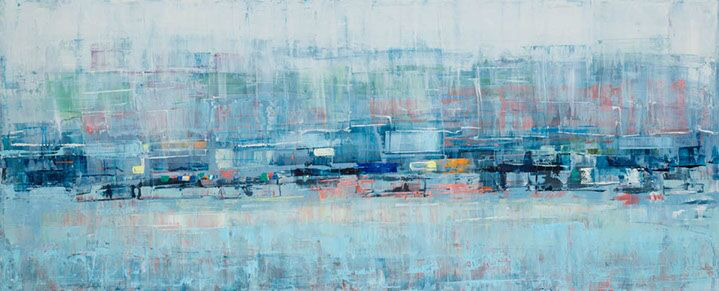 "Suzy Barnard, ""Blue Push '15"", 32""x78"", oil on panel"