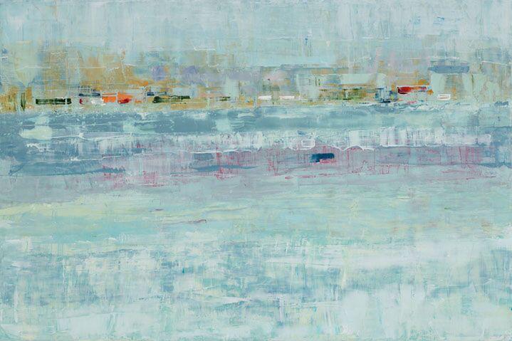 "Suzy Barnard, ""Veiled Pale Green"", 48""x72"", oil on panel"