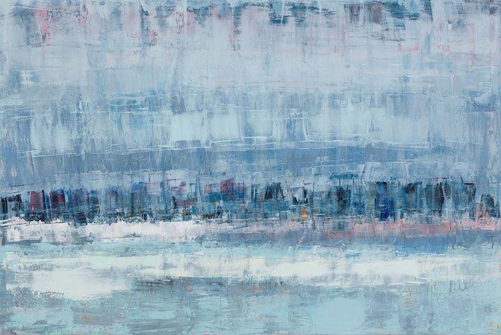 "Suzy Barnard, ""Slate & Heather"", 48""x72"", oil on panel"