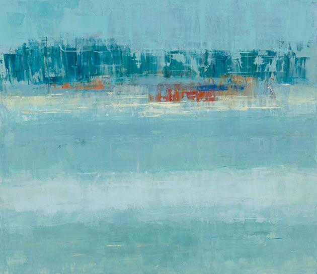 "Suzy Barnard, ""Celadon & Russet"", 44""x51"", oil on panel"