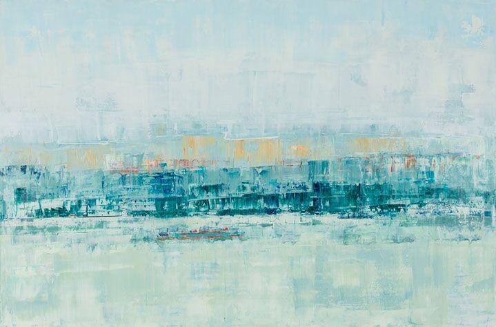 "Suzy Barnard, ""Sage to Saffron"", 48""x72"", oil on panel"