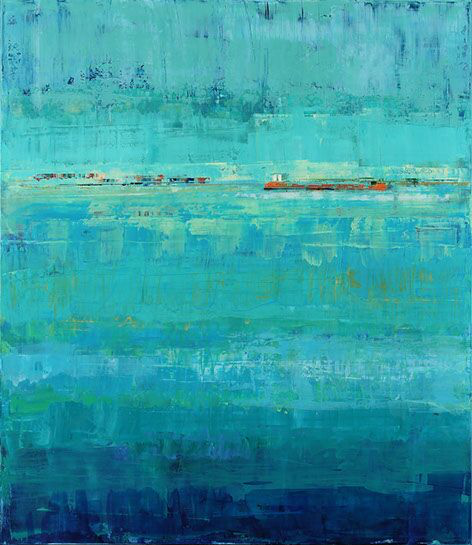 "Suzy Barnard, ""Fair Trade"", 44""x38"", oil on panel"