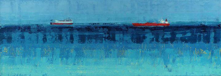 "Suzy Barnard, ""All That Glitters"", 36""x104"", oil on panel"