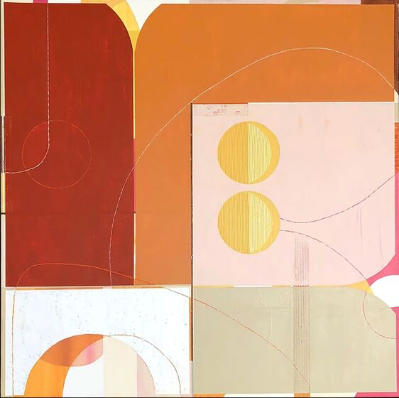 "Tricia Strickfaden, ""Off the Line"", 40"" x 40"", mixed media on canvas"