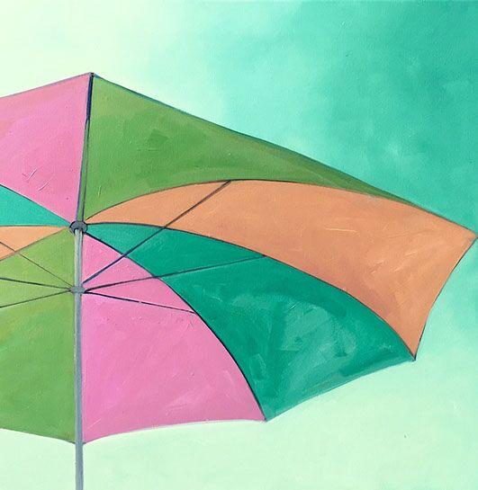 """T.S. Harris, """"Cheerful Sun Umbrella"""", 24""""x24"""", oil on canvas"""