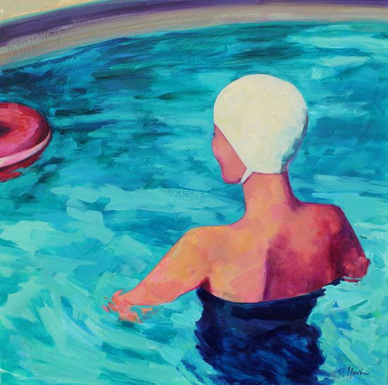 """T.S. Harris, """"Swimmer in the Pool"""", 36""""x36"""", oil on canvas"""