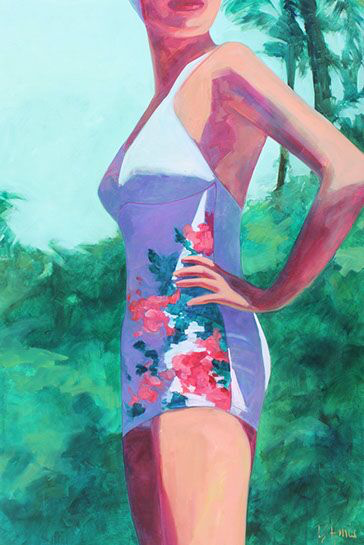 """T.S. Harris, """"The Swimmer"""", 72""""x48"""", oil on canvas"""