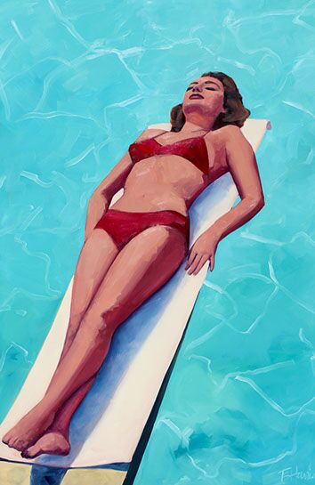 """T.S. Harris, """"Turquoise Blue Pool"""", 60""""x40"""", oil on canvas"""