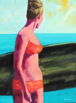 """T.S. Harris, """"Surfer Girl with Black Surfboard"""", 40""""x30"""", oil on canvas"""