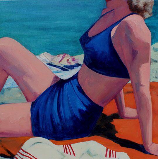 "T.S. Harris, ""A Lakeside Swim"", 40""x40"", oil on canvas"