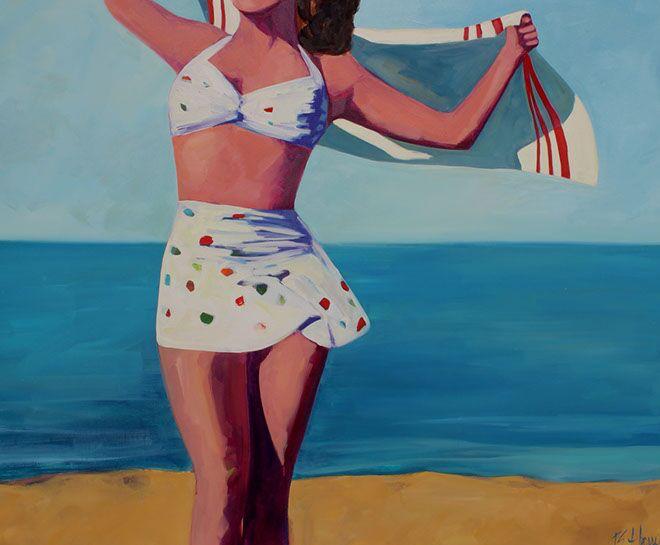 "T.S. Harris, ""Beach Frolic"", 48""x60"", oil on canvas"