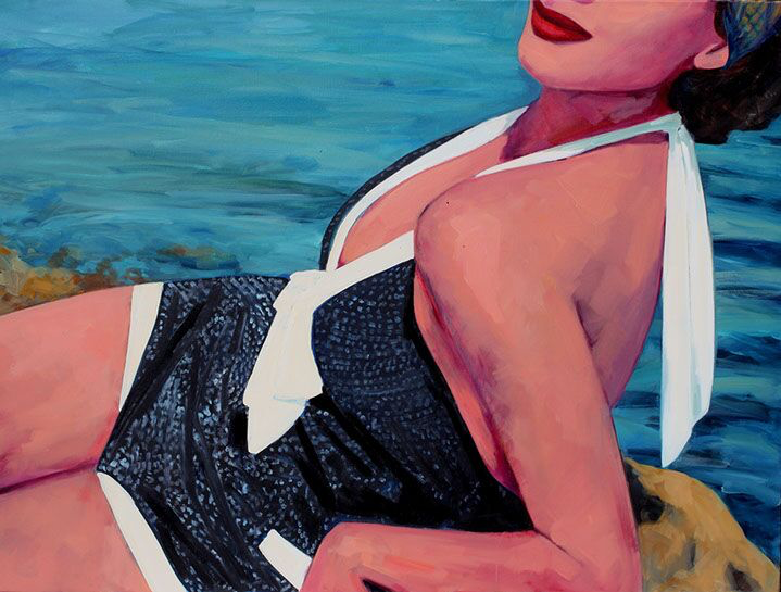 "T.S. Harris, ""Rocky Shore"", 30""x40"", oil on canvas"