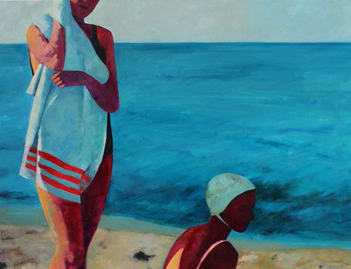 """T.S. Harris, """"Girls at the Shore"""", 48""""x72"""", oil on canvas"""