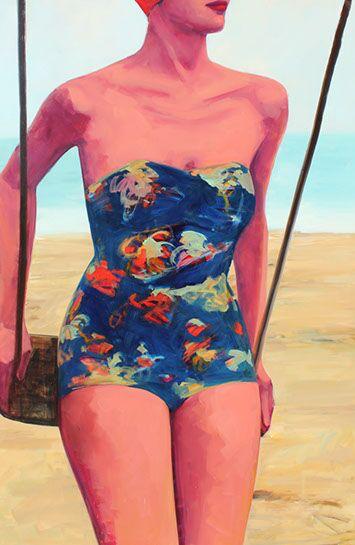 "T.S. Harris, ""Beach Swing"", 60""x40"", oil on canvas"
