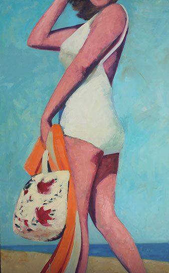 "T.S. Harris, ""Breezy Beach Day"", 48""x36"", oil on canvas"