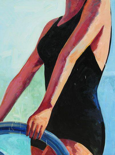 "T.S. Harris, ""Black Bathing Suit"", 60""x48"", oil on canvas"