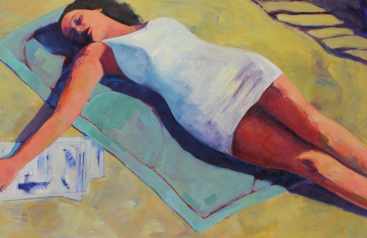 """T.S. Harris, """"Beach Repose"""", 40""""x60"""", oil on canvas"""