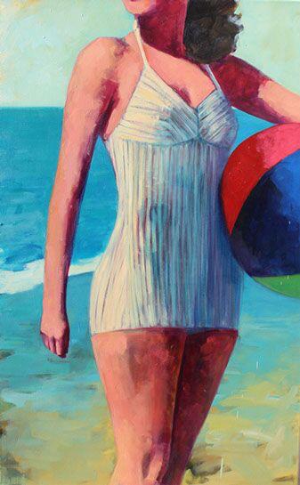 """T.S. Harris, """"Girl with the Beach Ball"""", 40""""x30"""", oil on canvas"""