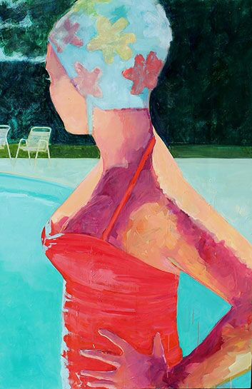 """T.S. Harris, """"Girl by the Pool"""", 60""""x40"""", oil on canvas"""