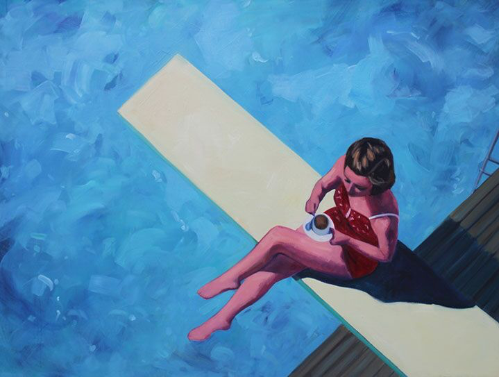 "T.S. Harris, ""Diving Board Tea"", 30""x40"", oil on canvas"